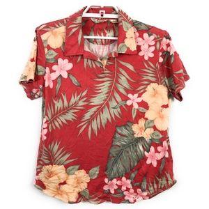 Tommy Bahama Red Silk-Blend Hawaiian Polo Shirt